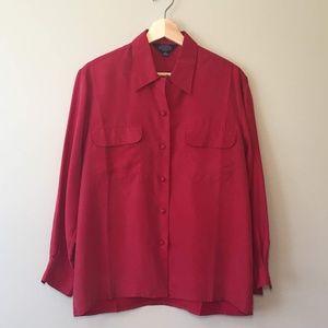 Vintage Kenneth Gordon 100% Silk Red Button Down